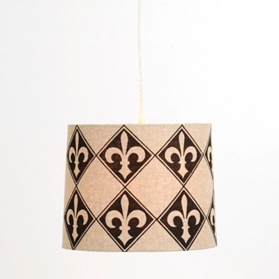 Black and Tan Fleur-de-lis Pendant Light