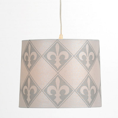 White and Gray Fleur-de-lis Pendant Light