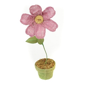 Pink Potted Burlap Daisy