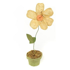 Yellow Potted Burlap Daisy