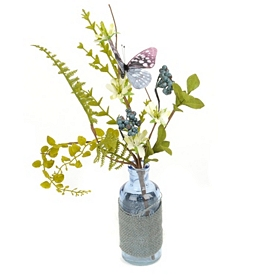 Blue Butterfly Bottle Arrangement
