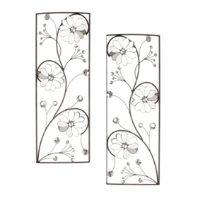 Jeweled Flower Metal Wall Plaque, Set of 2