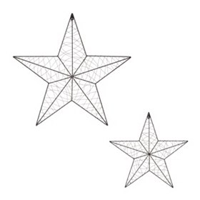 Wire Star Metal Wall Plaque, Set of 2