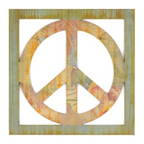 Scrapbook Peace Sign Metal Wall Plaque