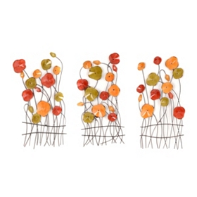 Abstract Garden Metal Wall Art, Set of 3
