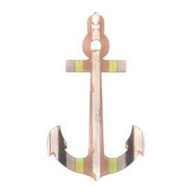 Striped Anchor Wall Plaque