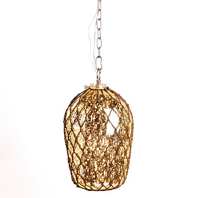 Mercury Glass Pendant Light with Rope Overlay
