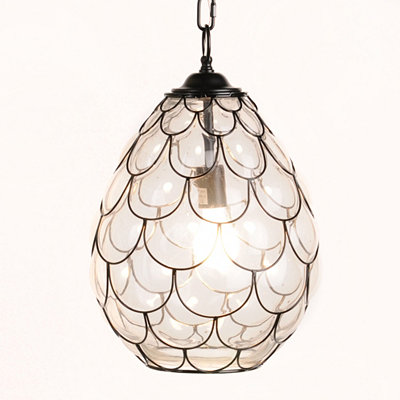 Metal Scales Glass Pendant Light