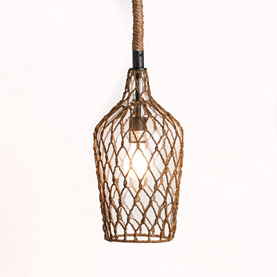 Clear Glass Pendant Light with Rope Overlay