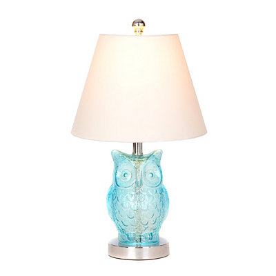 Blue Glass Owl Table Lamp