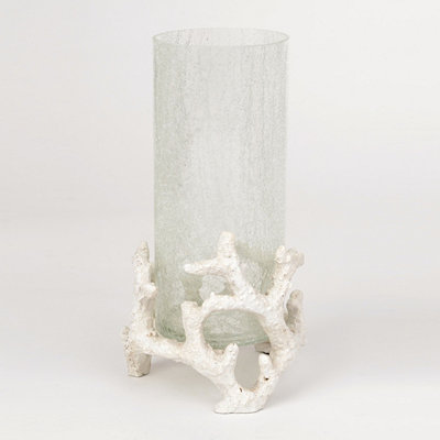 Crackle Glass Hurricane Vase with Coral Base