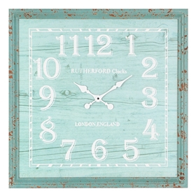 Turquoise Bead Board Square Clock