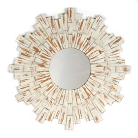 Distressed Whitewash Wood Burst Mirror