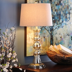 Mercury Glass Candlestick Table Lamp