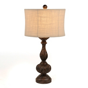 Distressed Brown Table Lamp
