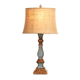 Slate Blue and Bronze Table Lamp