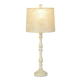 Floral Lace Antique Cream Table Lamp