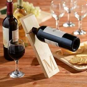 Monogram Gravity Wood Wine Bottle Holder, M