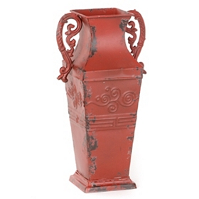 Red Amphora Metal Vase