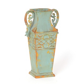 Blue Amphora Metal Vase