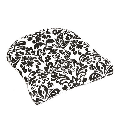 Black Damask Outdoor Cushion