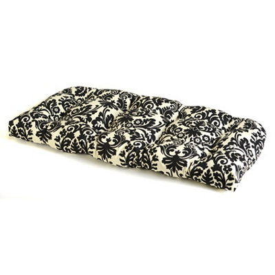 Black Damask Outdoor Settee Cushion