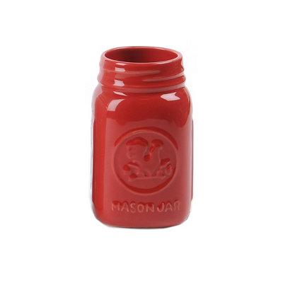 Red Mason Jar Vase