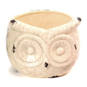 Cream Ceramic Owl Planter