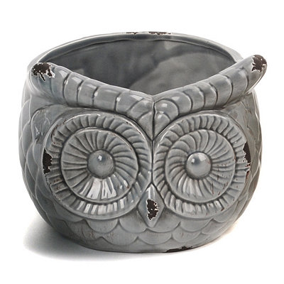 Gray Ceramic Owl Planter