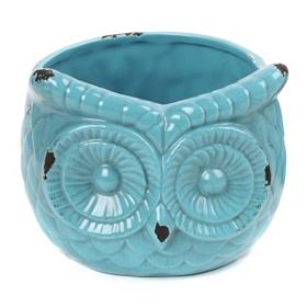 Turquoise Ceramic Owl Planter