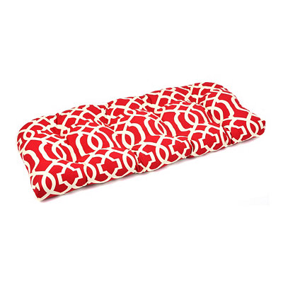 Red Geometric Outdoor Settee Cushion