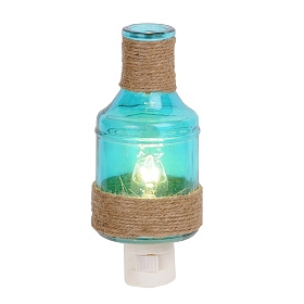 Blue Burlap Bottle Night Light