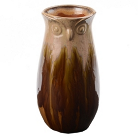 Tan Transition Owl Vase