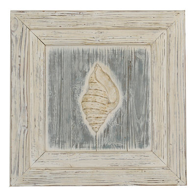 Ocean Front Wooden Sea Shell I Plaque