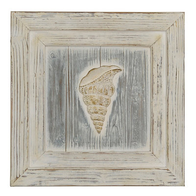 Ocean Front Wooden Sea Shell II Plaque