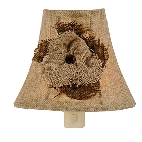 Burlap Flower Night Light Half Shade