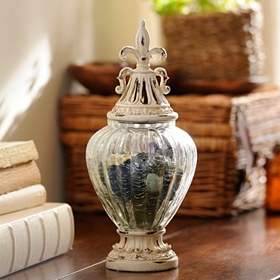 Distressed Ivory Potpourri Jar