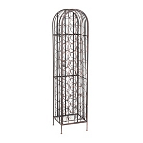 Tall Bronze Metal Wine Rack
