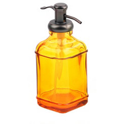 Amber Glass & Metal Soap Pump
