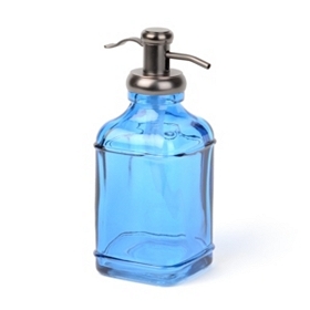 Blue Glass & Metal Soap Pump
