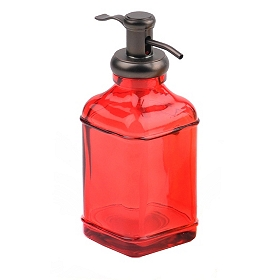 Red Glass & Metal Soap Pump