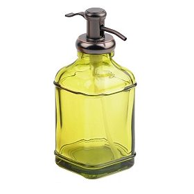 Green Glass & Metal Soap Pump
