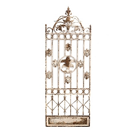 Antiqued White Trellis Metal Wall Panel