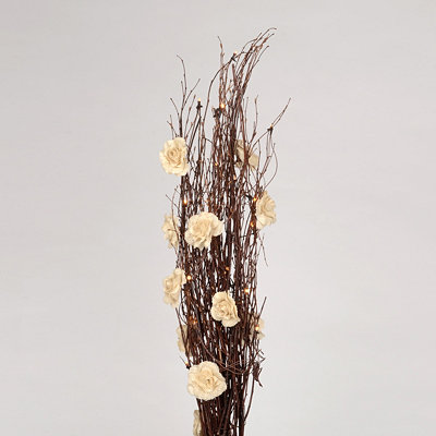 Pre-Lit Branch Bundle with Burlap Roses