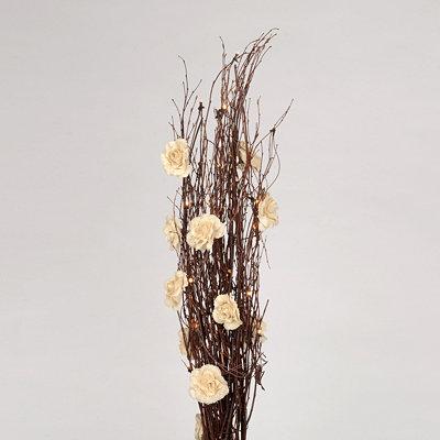 Pre-Lit Branch Bundle with Burlap Roses