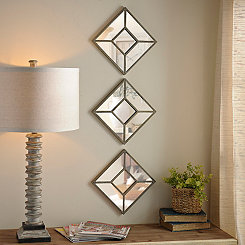 Diamond Beaded Mirror, Set of 3
