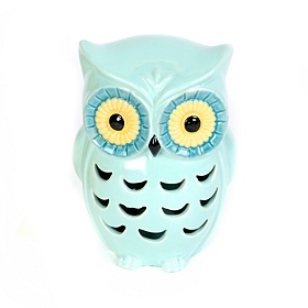 Blue Cutout Ceramic Owl Statue