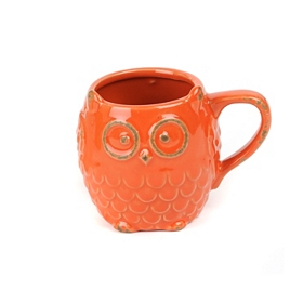 Red Ceramic Owl Mug