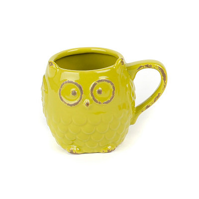 Green Ceramic Owl Mug