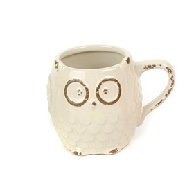White Ceramic Owl Mug